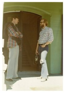 Founder of the university, Don Kantel, chatting with student