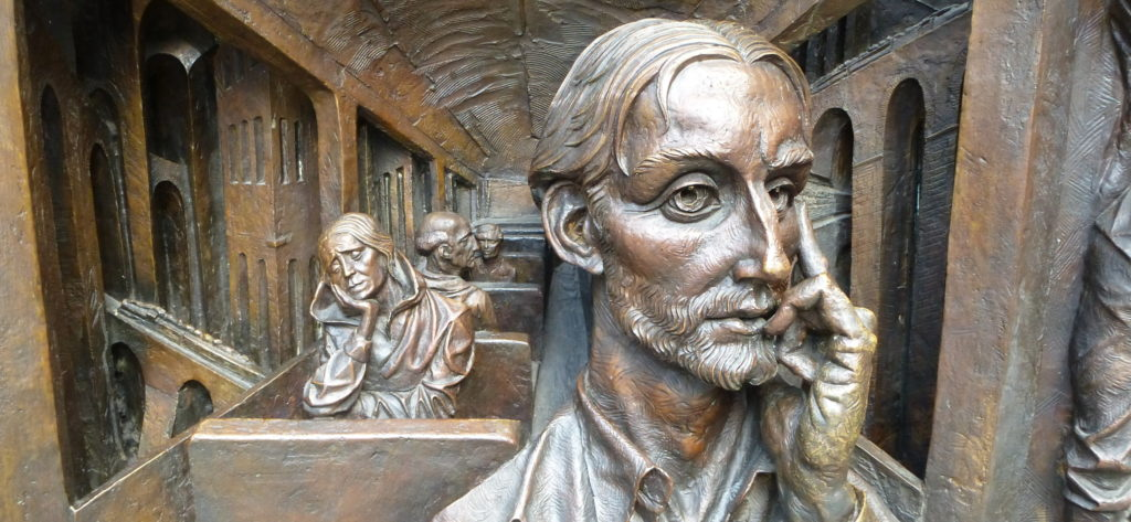 reflective face - detail of sculpture by Paul Day